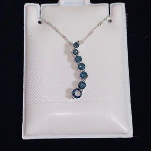 🆕10KT White Gold Irradiated Blue Diamond Necklace